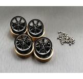 (SCX24-6669C2) SCX24 alum. & brass Beadlock wheel set & wheel locking hubs combo set